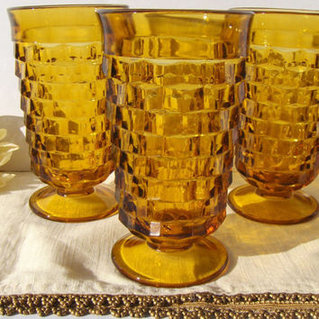Amber Whitehall Ice Tea Glasses by Colony Vintage Pedestal Footed Glassware - #2312