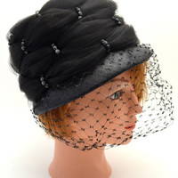 Vintage Black Cloche Hat, Black Tulle and Straw Hat with Veil and Box, Bead Accents, Designed by Patrice, Size 22, circa 1960s