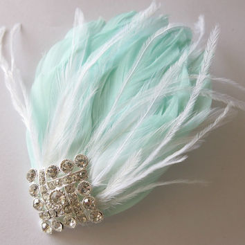 Gatsby Headpiece, Great Gatsby Wedding,1920s, Mint, White, Bridal Head Piece, Feather Fascinator,