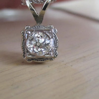 Antique .33 ct Old European Cut Solitaire Diamond Pendant Necklace Art Deco Engraved 14 kt White Gold Setting Bridal Wedding Jewelry