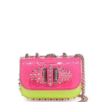 Sweety Charity Python Crossbody Bag, Neon Pink/Yellow