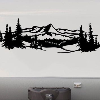 Mountains Lake Deer RV Camper 5th Wheel Motor Home Vinyl Decal Sticker Graphic Custom Text Mural M001
