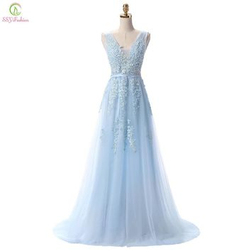 Vestido De Festa SSYFashion Sweet Light Blue Lace V-neck Long Evening Dress The Bride Party Sexy Backless Prom Dresses Custom