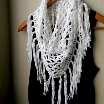 Light Crochet Fringe Scarf, Summer Crocheted Triangle Scarf, 100% Cotton Scarf, Open Knit Lace Scarf, Boho Chic Triangle Scarf, Crisp Cotton