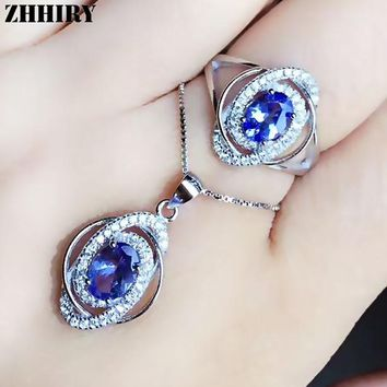 ZHHIRY Real Natural Blue Tanzan Jewelry Sets 925 Sterling Silver Ring Necklace Pendant For Women Gemstone Fine Jewelry
