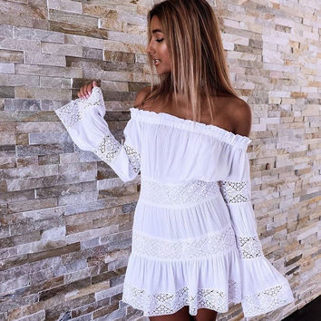 Strapless Lace Up Pagoda Sleeve Mini Dress