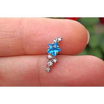 Blue Star Ear Climber Cartilage Helix Earring Piercing