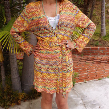 Missoni Knit, Neiman Marcus, Vintage Missoni, Sweater Dress or Coat, Zig zag Pattern, Long Knit Sweater,  Women's Clothing, Made in Italy