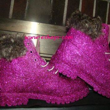 DCK7YE Custom Hot Pink Glitter Timberland Boots with Fur Collar