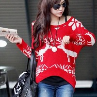 Christmas Deer Round Neck Sweater 1BADBBB