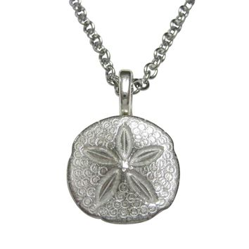 Silver Toned Detailed Sand Dollar Pendant Necklace