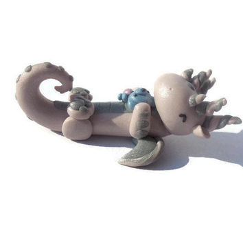 Sleepy dragon sculpture, clay dragon, dragon figurine, dragon miniature, fantasy decor, little girls bedroom knick knack, pink and silver