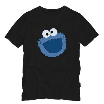 Sesame Street COOKIE MONSTER Men T Shirt Summer Casual Funny Top Tee Sesame Street Characters Design Printed Cotton T-Shirt