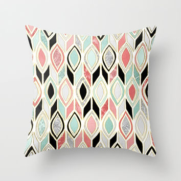 Patchwork Pattern in Coral, Mint, Black & White Throw Pillow by Micklyn