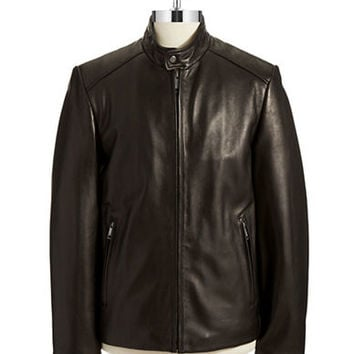 Andrew Marc Leather Zip Up Jacket