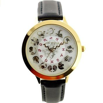 Womens Vintage Creative Constellation Twelve Zodiac Black Leather Watch