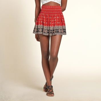 Patterned Smocked Skater Skirt
