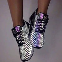 """F""""Adidas"""" Women Men Fashion Casual Chameleon Reflective Sneakers Sport Shoes G"""