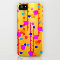 POLKA DOT MATRIX - Bright Bold Cheerful Dotty Geometric Squares Circles Abstract Watercolor Painting iPhone Case by EbiEmporium | Society6