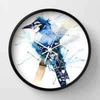 Blue Jay Wall Clock by hannahclairehughes
