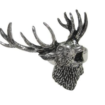 Right Facing Red Stag Deer Head Adjustable Size Fashion Ring
