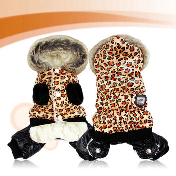 Waterproof Fabric Leopard Puff Cute Puppy Pet Dog Cat Winter Coat Jacket Costumes For Dogs Winter Clothes Best Price