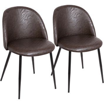 Luna Contemporary Dining / Accent Chairs with Brown PU, Black (Set of 2)