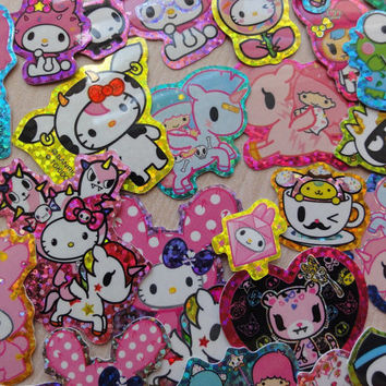 36 pcs TOKI DOKI Hello Kitty My Melody Little Twin Stars Sanrio Flake Stickers Sack Cute Party Favor journal san-x kawaii bag confetti