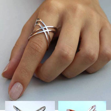 X Ring / Criss Cross Ring /  14K Gold Fill X Ring  Sterling Silver X Ring / Thin Silver Ring / X Rings  / Christmas Gift