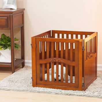 Elegant Home Fashions Paddy 24-inch 4-Panel Convertible Dog Gate (Brown)