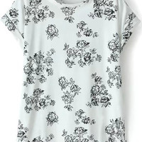 White Short Sleeve Vintage Floral T-Shirt