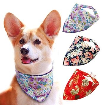 Print Flower Pet Collar Rural Pastoral Style Dog Scarf Bandage Classic Dog Bandanas for Small Dogs Adjustable for Dogs Cats