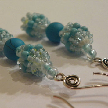 Dangle Bead Ball Earrings in Teal and Light Blue - The Blue Sky Seed Bead Earrings