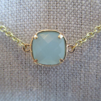 Light Blue and Gold Necklace