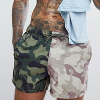ASOS Swim Shorts In Cut & Sew Camo Print In Short Length at asos.com