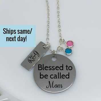 Mom Necklace, Kids Name Necklace, Mom Gift, Mom Jewelry, Blessed Necklace, Kids Names, Gift for Her, Wife Gift, Gifts Under 20