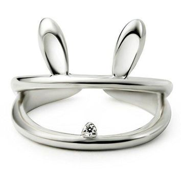 JEWME Women 925 Sterling Silver Hollow Luck Rabbit Bunny Open Tail Ring Size 68