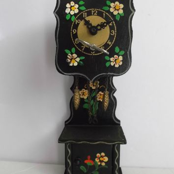 Grandfather Clock Germany Hand Painted Flowers Key Wind Up