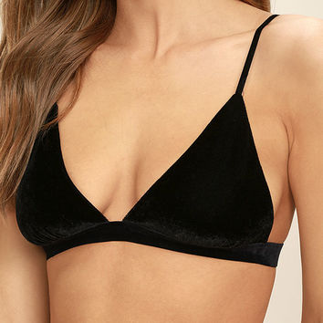 Whisper Softly Black Velvet Bralette