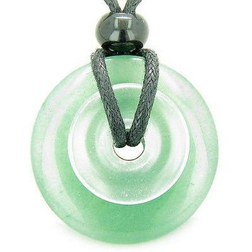 Astrological Gemini Amulet Double Lucky Donuts Green Aventurine and Rock Crystal