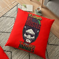 'Fun Gorilla Quote: It´s Simple We Rustle Their Jimmies' Floor Pillow by JCIllustrator