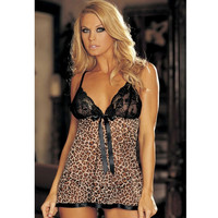 On Sale Sexy Hot Deal Cute Plus Size Spaghetti Strap Leopard Exotic Lingerie [6595687171]