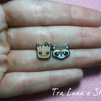 Earrings  Groot and Rocket Raccoon, Guardians of the Galaxy, Marvel - cute