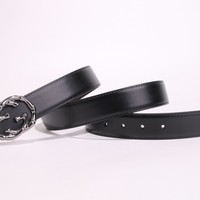 """Gucci"" Unisex Fashion Personality Retro Metal Needle Buckle Cowhide Genuine Leather Belt Waistband"