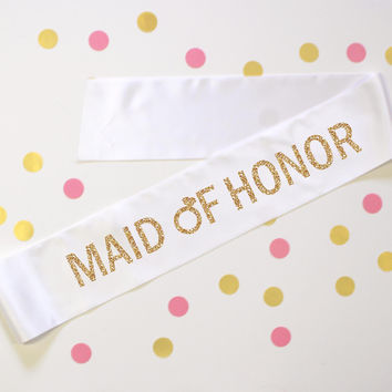 Maid of Honor Diamond Ring White Sash
