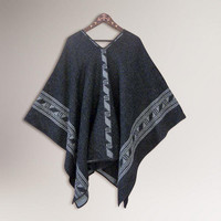Novica Gray Black Glyphs Alpaca Wool Reversible Poncho | World Market