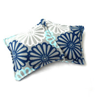 Navy Blue and Gray Flowers Flannel Hand Warmers - Gray Reusable Rice Hand Warmers