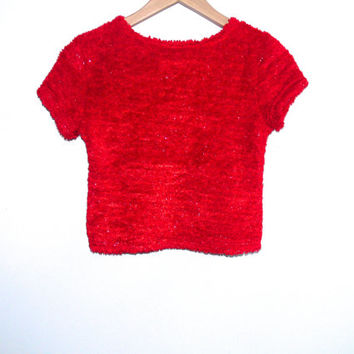 Vintage 90s Joe Boxer Red Fuzzy Glitter Tinsel T Shirt 1990s Soft Furry Pastel Grunge Clueless - S/M Small Medium