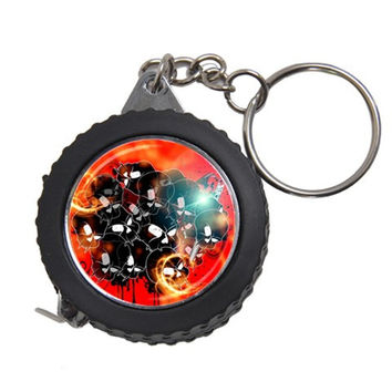Black Skulls On Red Background With Sword Measuring Tapes