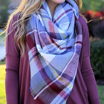 Cute & Cozy Plaid Scarf-Grey
